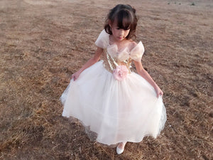 Little to Big Girl Sparkle Drop Shoulder Tulle Princess Gown, Wedding Flower Girl, Blush Pink, Gold Champagne, Red, Blue Indigo, Size 2-12