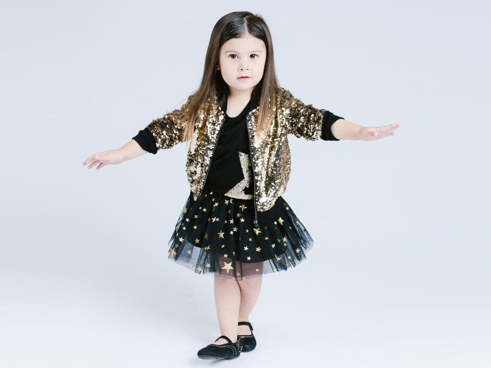 3cf501a9 Girl Gold Luxury Ultra Sparkle Sequined Zip-Up Bomber Jacket, Party,  Pageant,
