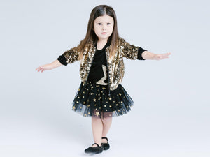 Girl Gold Luxury Ultra Sparkle Sequined Zip-Up Bomber Jacket, Party, Pageant, Dance, Disco