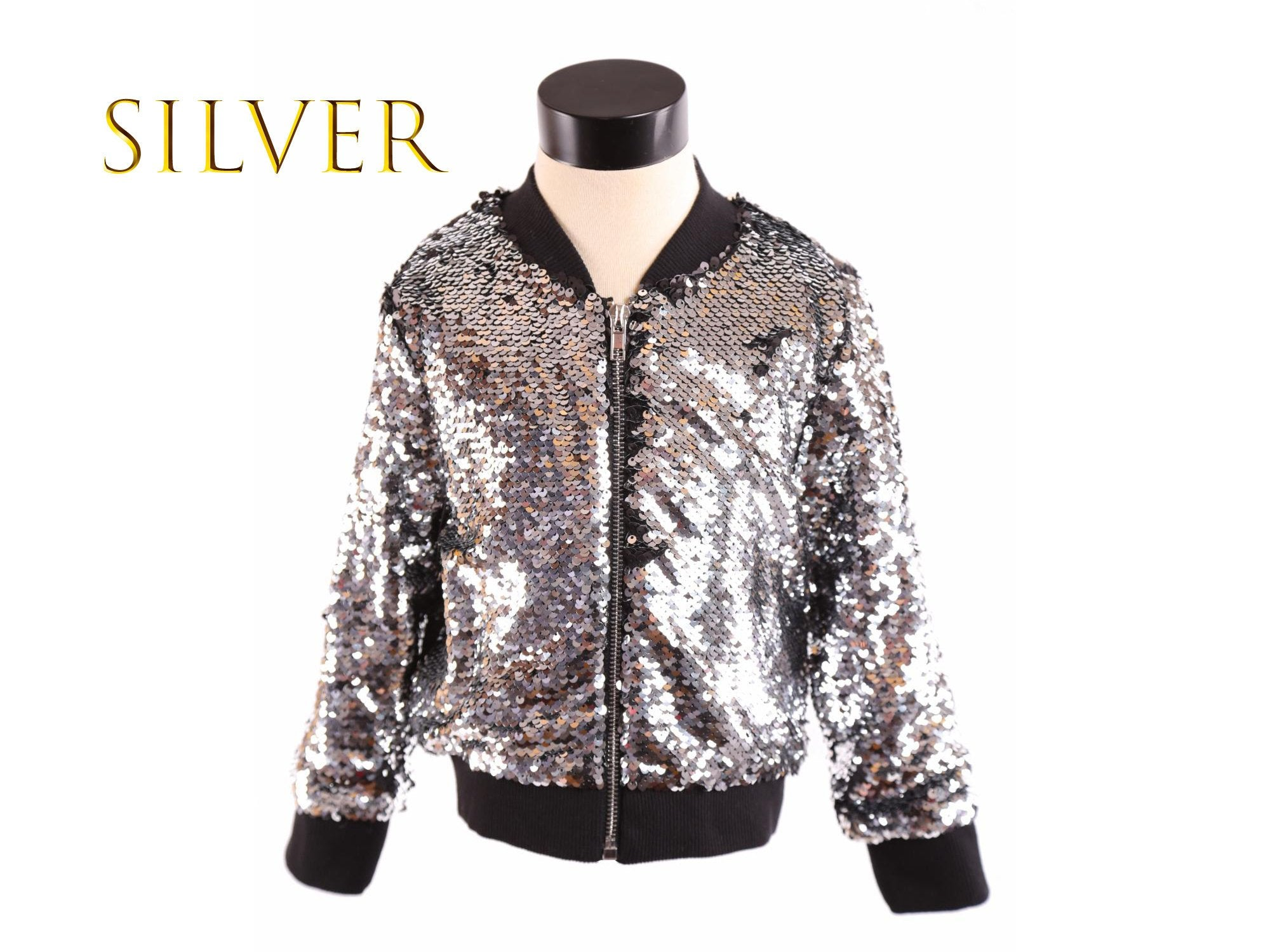 b362f8f9 Girl Luxury Ultra Sparkle Sequined Zip-Up Bomber Jacket, Black, Peacock,  Silver