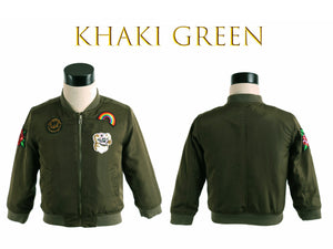 Girl Aviator Pilot Flight Zip-Up Bomber Jacket, Khaki Green