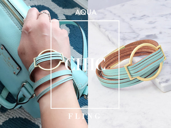 Aqua Mint Premium Leather Infinity Wrap Bracelet in Classic Trellis Gold buckle, Magnetic Closure, Women, Teen Girl, Gift Box Wrapping