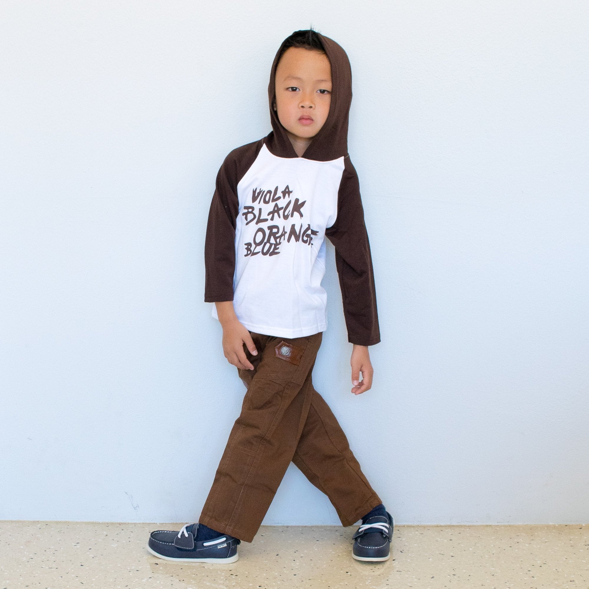 Boy Brown White Sweatshirt and Cargo Pants 2 Piece Set