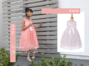 Little to Big Girl Whimsical Lace Empire Waist Tea Length Dress, Wedding Flower Girl, Christening, Communion, Blush Peach, White, Size 4-14