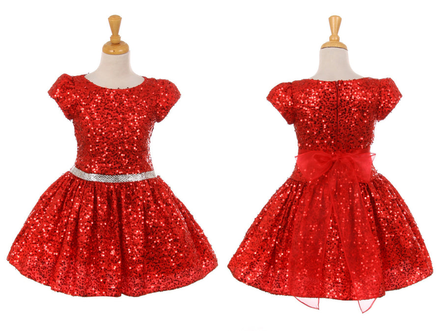 Little to Big Girl Sparkle Sequins Dress, Red Silver, Birthday Party Special Occasion Pageant Holiday Christmas Dance, Size 2-12