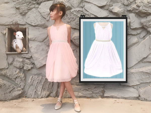 Little to Big Girl Rhinestone Pearl Chiffon Draped Dress, Blush Pink, White, Baptism, Christening, Wedding Flower Girl, Easter, Size 2-14