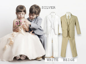 Baby To Big Boy 5-Piece Suit Tuxedo, Beige, Silver, White, Baptism, Christening, Wedding Ring Bearer, Size 6 months to Boy 20