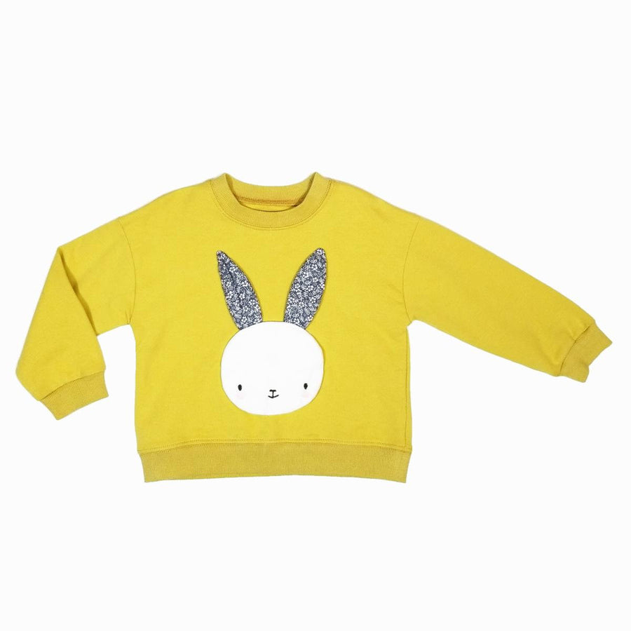Girl Cute Whimsical Yellow Bunny Ears Crew Neck Sweater, Party School Casual Animal