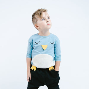 Little Boy Cute Penguin Crew Neck Sweater with 3D Beak and Feet, Party School Casual Animal, Size 2T - 6