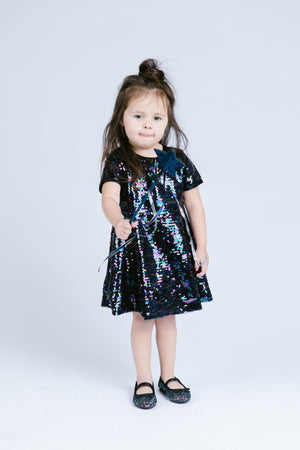 Little Girl Luxury Ultra Sparkle Sequined Zip-Up Dress, Gold, Black Peacock, Party, Birthday, Pageant, Dance, Disco, Size 2T-6