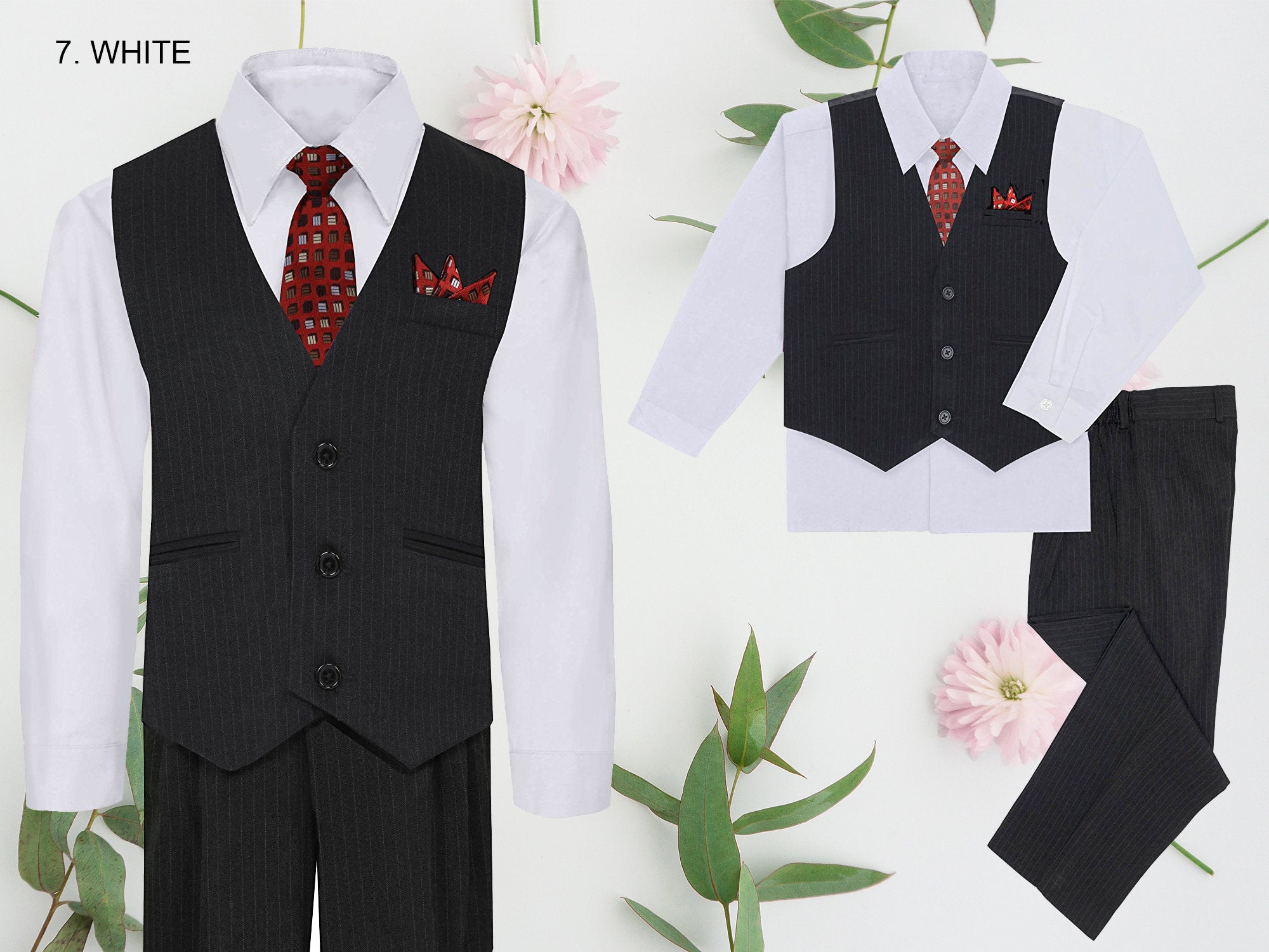 b3dd38392b7a Tuxedos Baby Boys Baby Boys Black 5 Piece Classic Vest Jacket Pants Special  Occasion Suit 3-24M