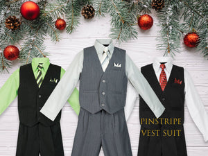 Babies to Big Boys Pinstripe Vest 4-Piece Suit Set with Pants Shirt Tie Hanky, Gray Silver, Black Green, White, Wedding Ring Bearer, 6m-20