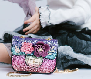 Girl Cross body Sparkle Glitter Handbag Purse Bag with Flowers and Pearl Details, Party, Weekends, Vacation