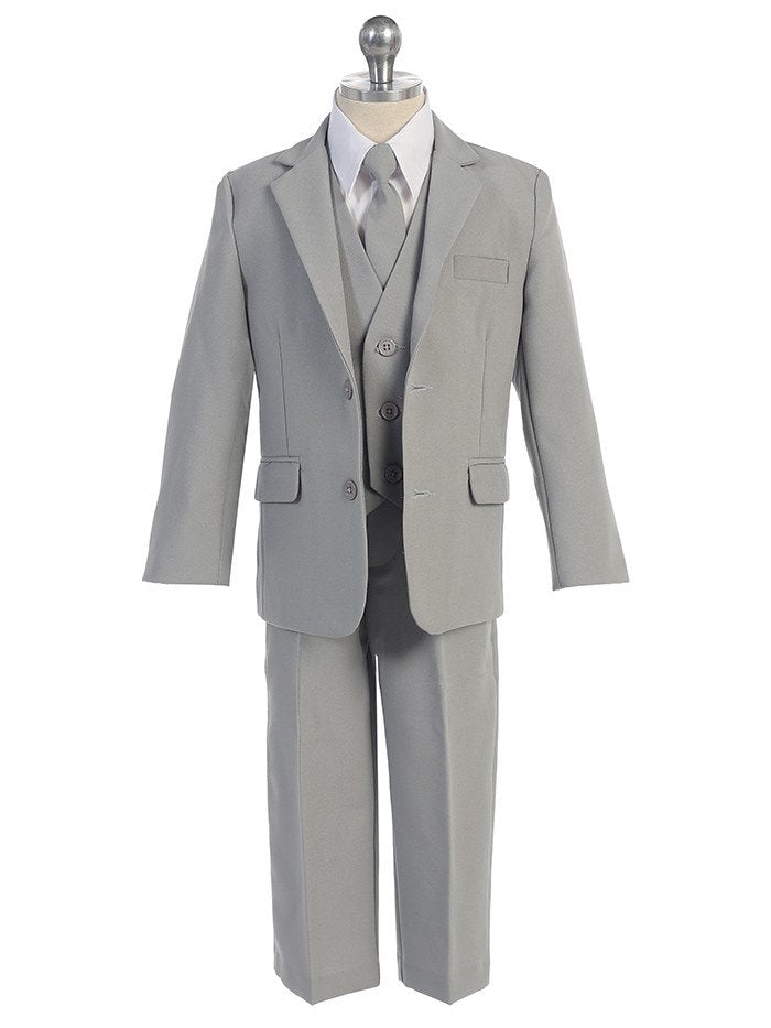 Baby Toddler to Big Boy 5-Piece Suit Tuxedo, White, Gray Silver, Beige Khaki Ivory, Wedding Ring Bearer, Baptism, Size 6 months - 20