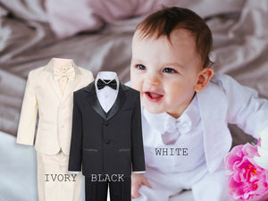 Baby to Little Boy 5-Piece Suit Tuxedo Satin Lapel, Black, Ivory, White, Baptism, Christening, Wedding Ring Bearer, Size 6m to 7T