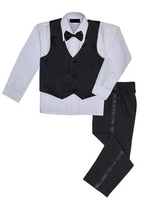 Baby to Big Boy 5-Piece Suit Tuxedo Satin Lapel, Black, Baptism, Wedding Ring Bearer, Size 6 months to Boy 20