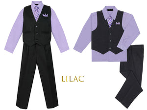 Baby to Big Boys Black Pinstripe Vest 4pc Suit with Pants Shirt Tie Hanky, Pink, Lilac Lavender, Violet, Purple, Wedding Ring Bearer, 6m-20