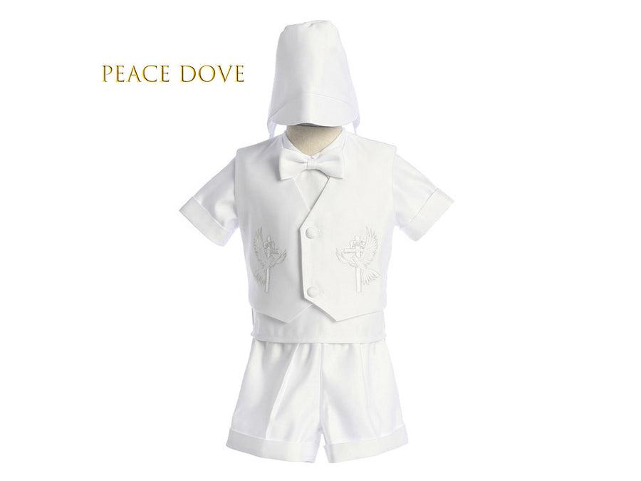Baby to Boy Heirloom Baptism Christening White Bridal Satin 5-piece Vest Set, with Hat, Bow Tie, Short Sleeves Shirt, Shorts, 0-24m, 2-4