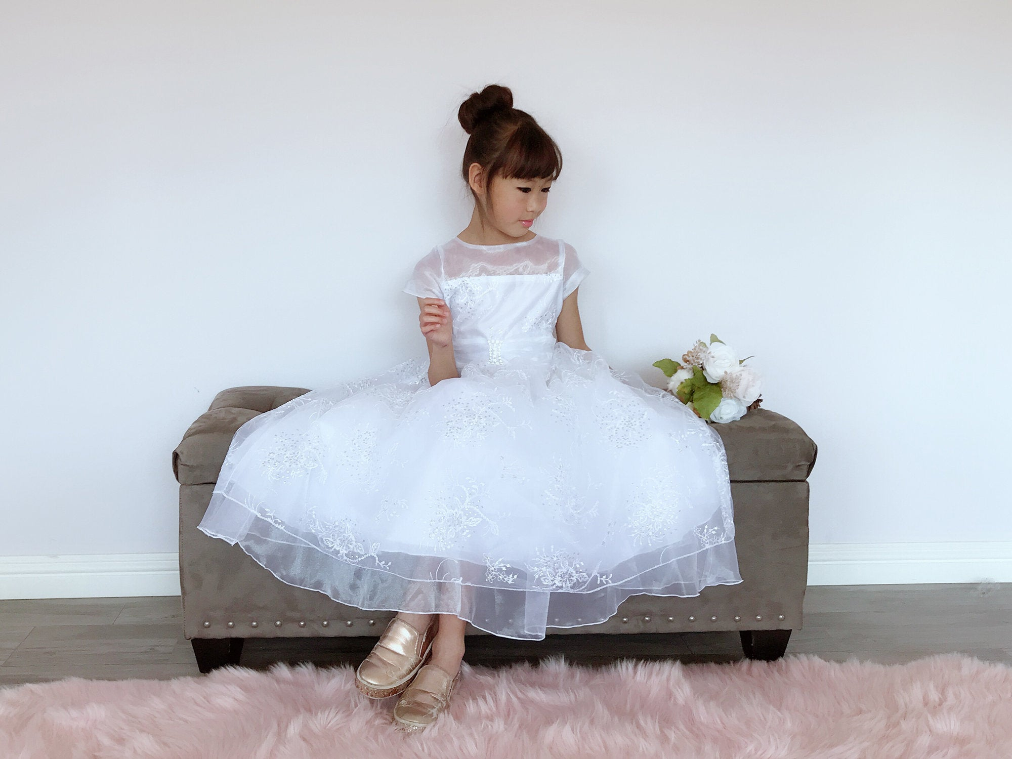 e21bf0e387b Girls White Organza Tulle Glitter Sequins Floral Embroidery Rhinestone Pin  Brooch Full Length Gown Dress