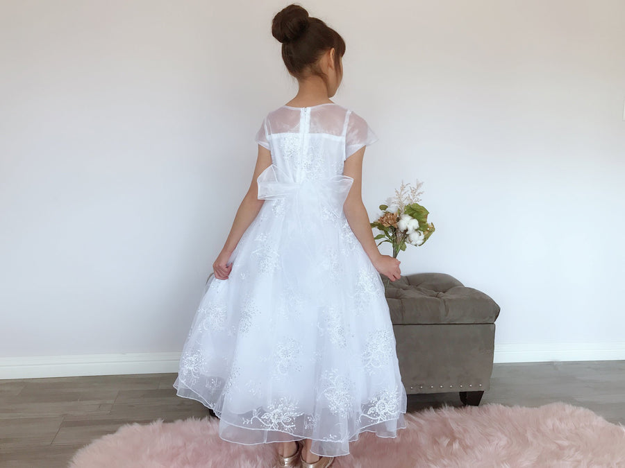 Girls White Organza Tulle Glitter Sequins Floral Embroidery Rhinestone Pin Brooch Full Length Gown Dress, Flower Girl Communion, Size 6-16