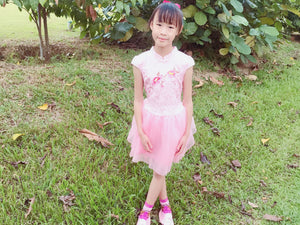 Little to Big Girl Whimsical Floral Chinese Tutu Dress, Traditional Mandarin CheongSam, Blue White, Pink, Size 2-8