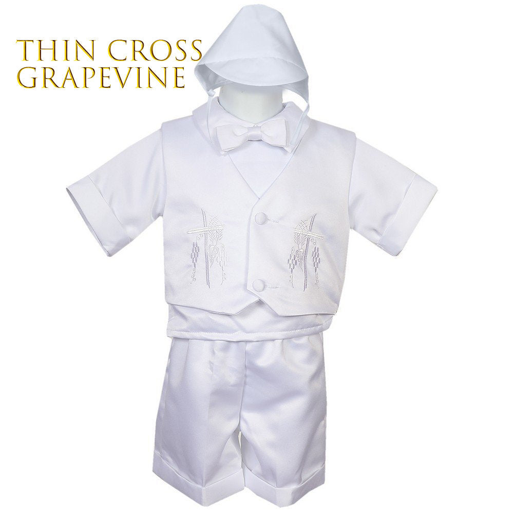25e91a227 Baby to Boy Heirloom Baptism Christening White Bridal Satin 5-piece Vest Set,  with