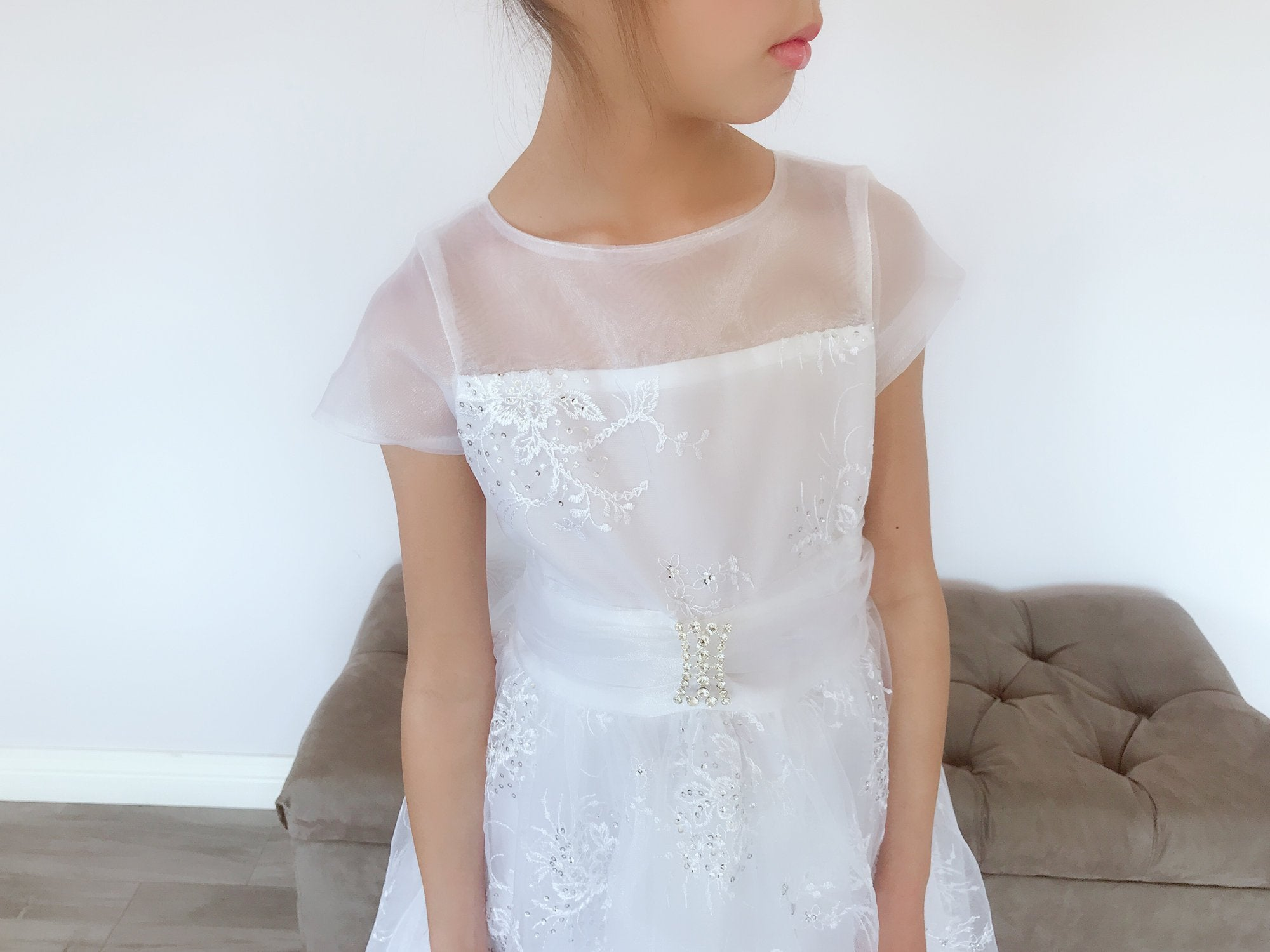 8e0a3c68 Girls White Organza Tulle Glitter Sequins Floral Embroidery Rhinestone Pin  Brooch Full Length Gown Dress,