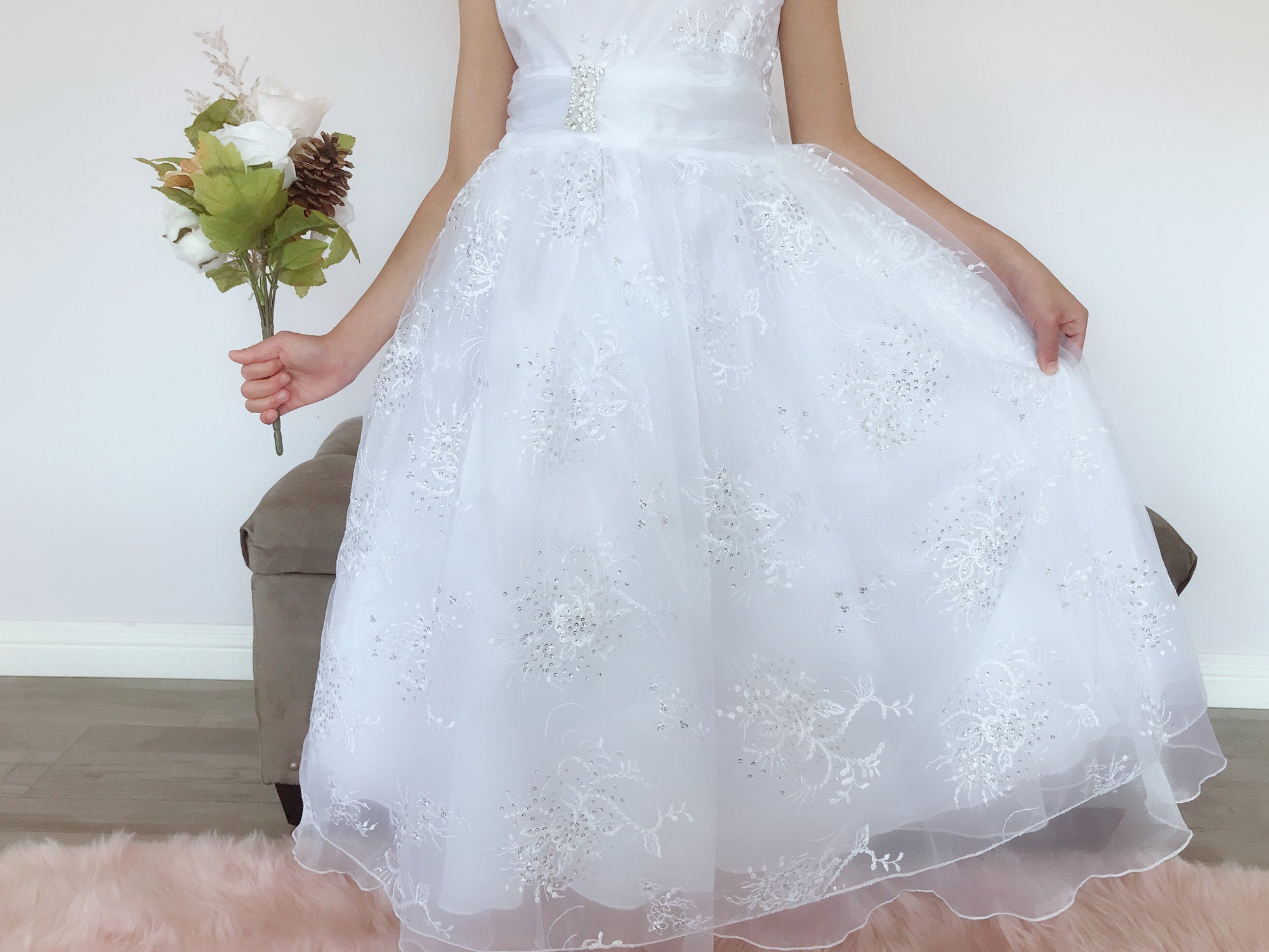 f09c773e Girls White Organza Tulle Glitter Sequins Floral Embroidery Rhinestone Pin  Brooch Full Length Gown Dress,