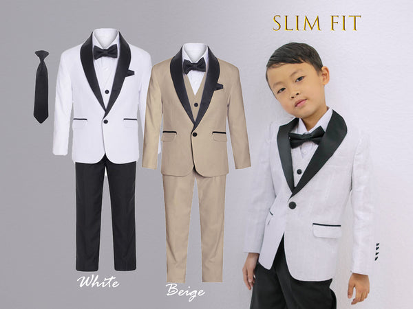 Little to Big Boy Slim Fit Premium 7-Piece Suit Tuxedo Black Satin Shawl Lapel, White, Beige Khaki Tan, Wedding Ring Bearer, Prom, Size 1-18