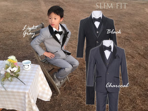 Slim Fit 7pc Suit Black Lapel 1-18