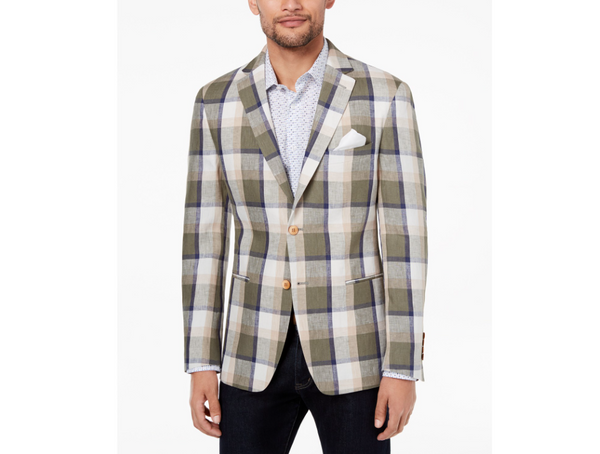 Tallia Orange Collection Men's Modern Fit Olive Plaid Sport Jacket VGA01TKX0287