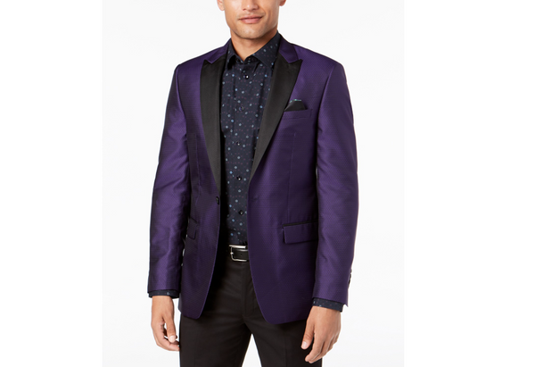 Tallia Orange Collection Men's Slim-Fit Purple Medallion Jacket VHLL1TVV0176