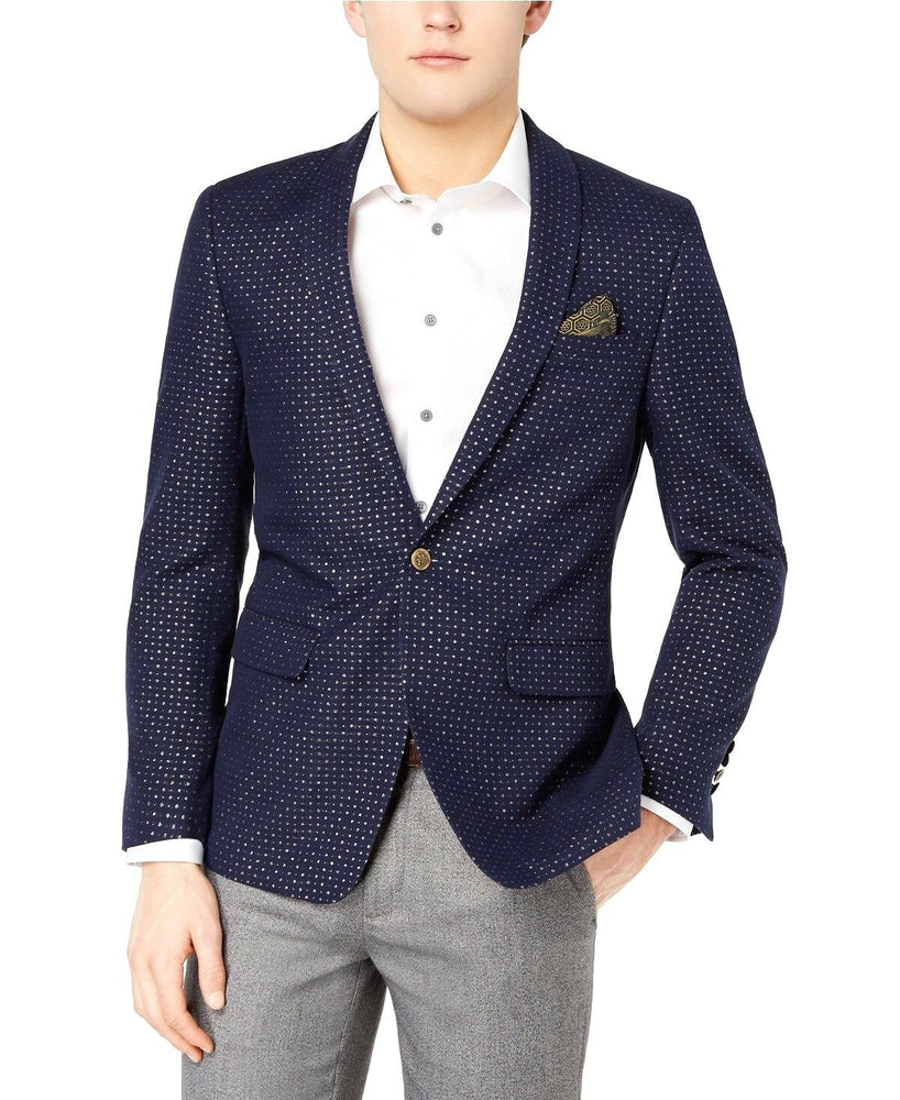 Tallia Orange Men's Modern Fit Navy Metallic Dot Dinner Jacket