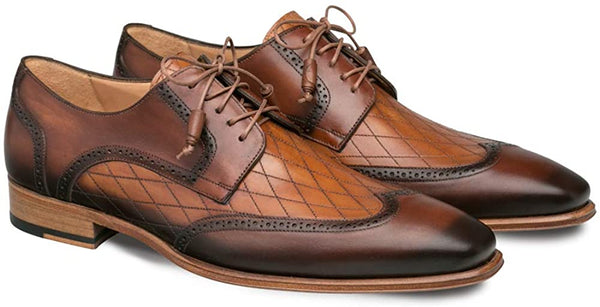 Mezlan Argento - Mens Luxury Lace-Up Dress Shoes - Diamond Patterned Etched Calfskin and Deeper Toned Burnished Wing-Tip - Handcrafted in Spain - Medium Width