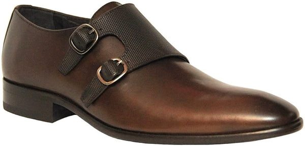 Sergio Serrano Men's Monck Strap Slip On Brown Leather Dress Shoes 713-6854