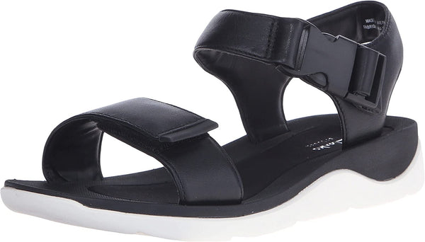 Clarks Women's Caval Dixie Quarter Strap Sandal,Black Full Grain Leather,US 11 W