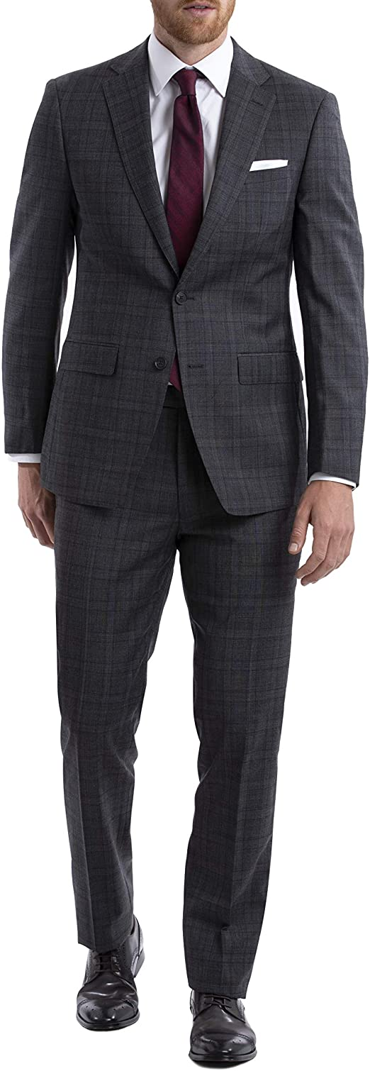 Calvin Klein Men's Slim Fit Stretch Grey/Burgundy Suit MBYR25UZX159