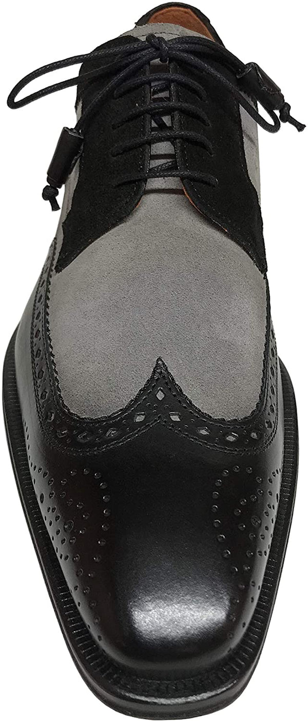 Mezlan Men's 18607-1 Oxford Leather/Suede Black/Grey Dress Shoes