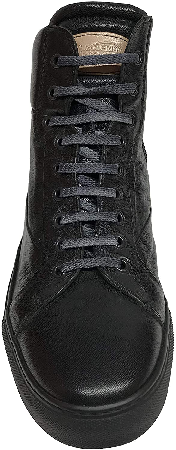 Calzoleria Toscana Mens 7530 Soft Calfskin High Top Sneakers Black