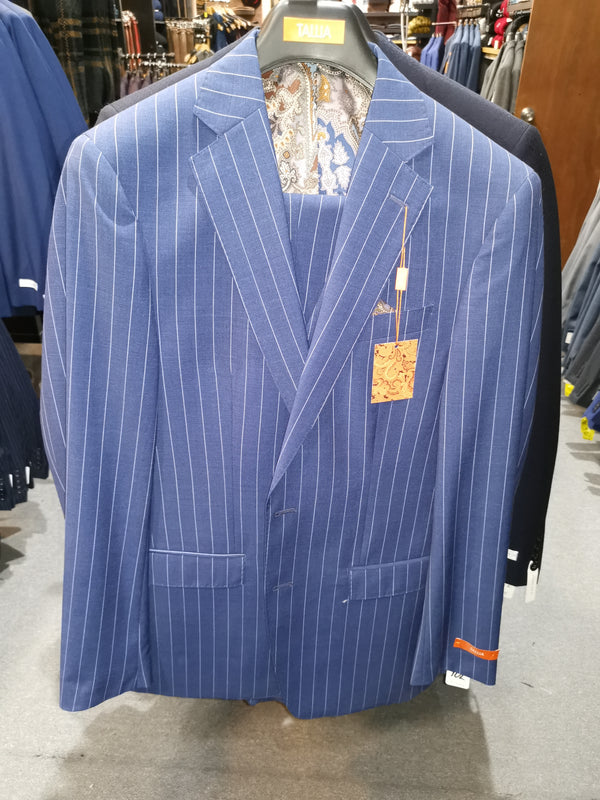Tallia Men's Slim Fit Blue Pinstripe  Vested Suit VDVA3SQX0020 Valdina