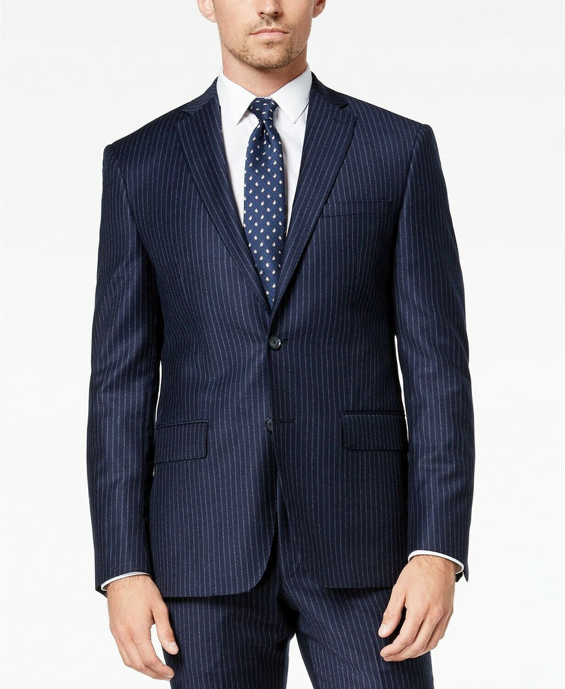 DKNY Men's Slim Fit Navy/White Pinstripe Suit DHUE218Z0133 Donahue
