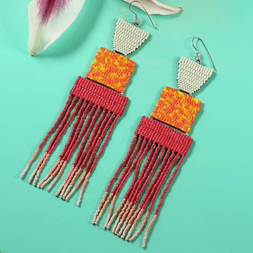 XL DAYBREAK EARRINGS (DARK CORAL)