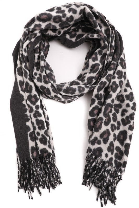 Leopard Print Oblong Scarf - Charcoal Black
