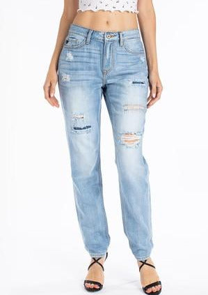 Kancan - Taylor High Rise Mended Boyfriend Jeans