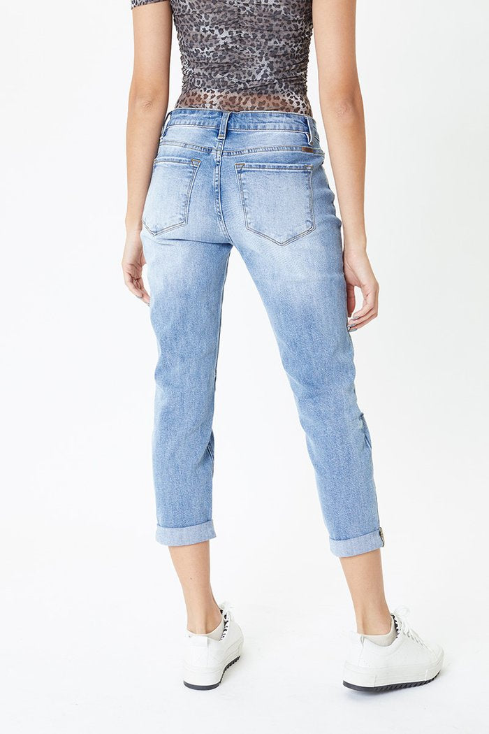Kancan Benny Midrise Girlfriend Jeans | Light Washed