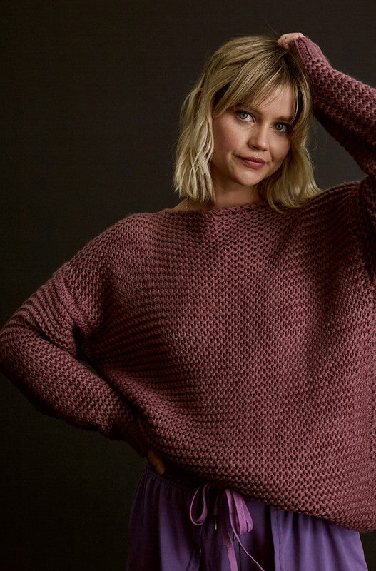 Listicle Chunky Knit Pullover | Plum