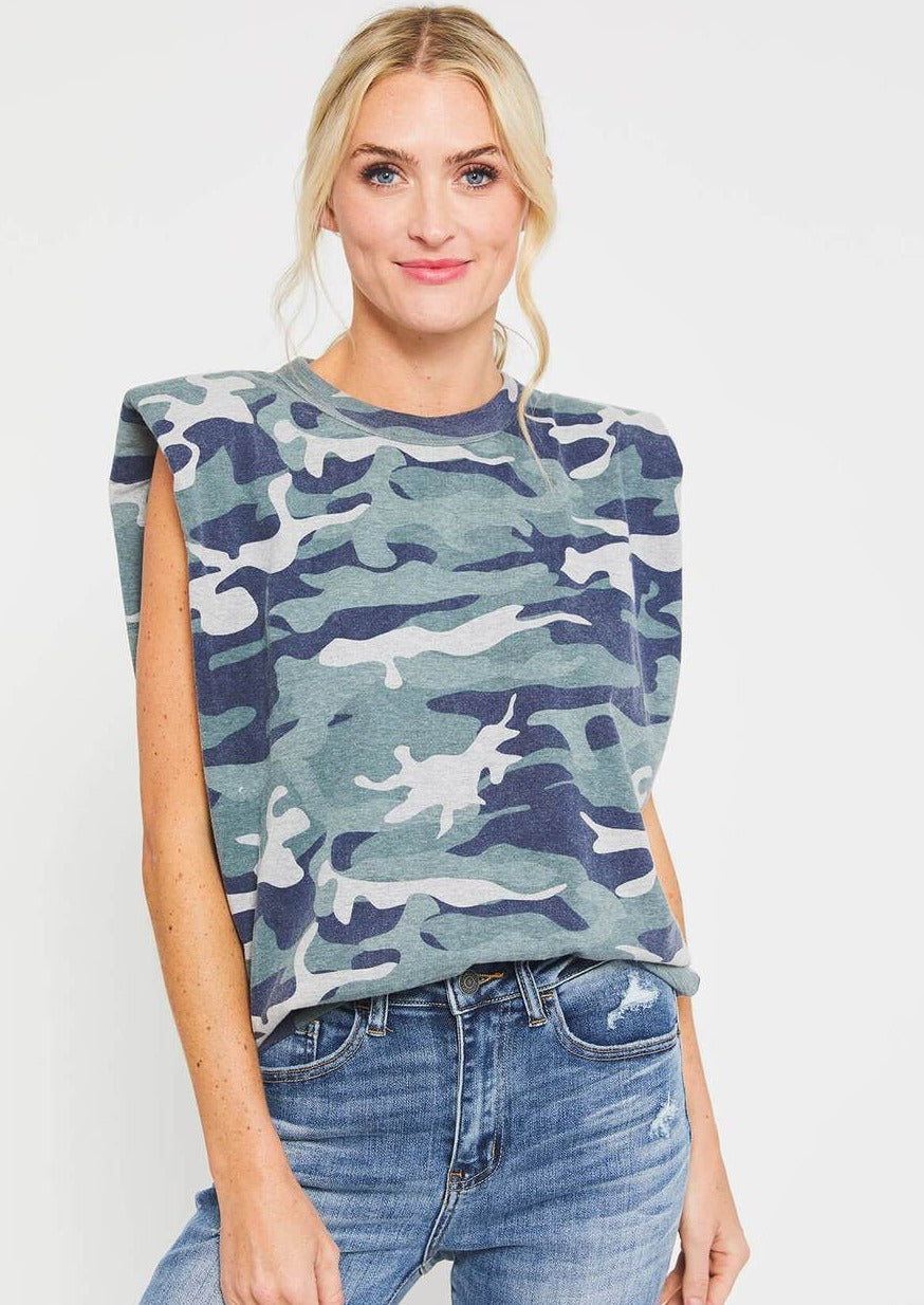 RD Style Camo Padded Shoulder Tee | Faded Grey
