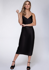 Black Tape Claire Satin Midi Dress