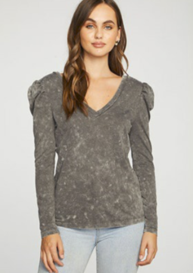 Chaser Recycled Vintage Jersey Puff Sleeve Double V Neck Tee |  Mineral Wash