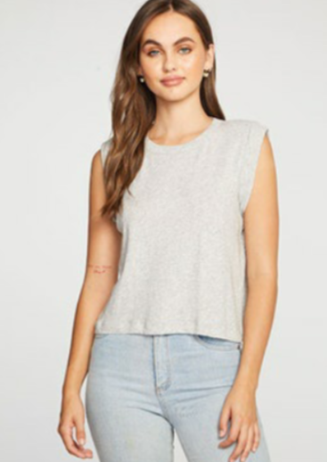 Chaser Cloud Jersey Bold Shoulder Rolled Cropped Muscle Tank | Heather Grey